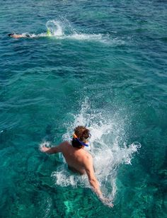 MY HUSBAND JUMPING INTO THE RED SEA, HURGHADA, EGYPT.    TONE LEPSØES PICTURES.