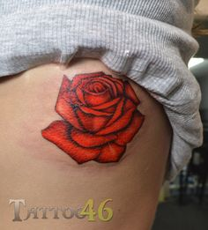 Red rose rib tattoo