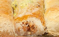 Kataïfi is a traditional Greek pastry made with nuts on the inside and soaked in a sugar or honey syrup.