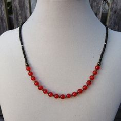 Carnelian and Brass Necklace by EastVillageJewelry on Etsy, $43.00 Sundance style at reasonable prices! www.eastvillagejewelry.etsy.com