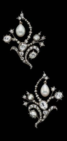 Russian Crown Jewels-Pair of pearl and diamond brooches, c1740