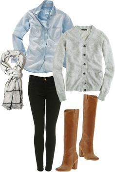 Chambray top and black skinnies with boots.