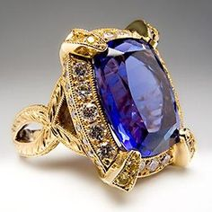 Genuine 11 Carat Tanzanite & Diamond Cocktail Ring Floral Detailing 18K Gold - EraGem by Gmomma