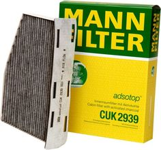 Mann-Filter CUK 2939 Cabin Filter With Activated Charcoal for select Audi/ Volkswagen models - Like a sponge, the activated charcoal layer embedded in the non-woven material absorbs harmful gases such as nitrogen dioxide, fuels and ozone into pores which are 10,000 times finer than a human hair. That is how the combi-filter ensures a healthy cabin environment. This modern filter consists o...
