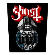 Ghost B. Woven Patch, Papa Emeritus Jumbo Head Within Blue Circle With Hooded Band Members Art Under Red & White Logo (Import), Ghost B. Warriors Woven Patch, Ghost B. Novelties, Ghost B. Ghost Papa, Ghost Bc, Band Patches, Sew On Patches, Rock Merchandise, Doom Metal Bands, Band Jacket, Band Logos, Back Patch