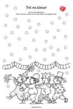Spelletje: kleur zoveel rondjes als je gooit met de dobbelsteen Birthday Songs, Happy Birthday, Mardi Gras, Puzzle Photo, Holidays To Mexico, Carnival Themes, School Themes, Clipart, Confetti