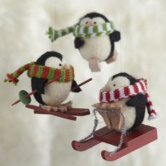 Wooly Winter Sport Penguin Ornaments from C&B