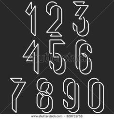Numerical symbols line monogram numbers, mockup black and white line mathematics…