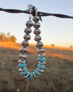 A Cowgirl's Promise LLC Store - Kingman Turquoise and Sterling Silver Aztec Bead Bracelet by Laura Ingalls Designs, $185.00 (http://www.acowgirlspromise.com/kingman-turquoise-and-sterling-silver-aztec-bead-bracelet-by-laura-ingalls-designs/)