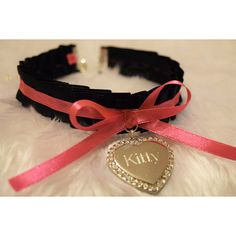 KITTY Engraved Heart BDSM Collar Silver Crystal Diamante Charm Black... ❤ liked on Polyvore featuring jewelry, necklaces, crystal heart necklace, silver heart necklace, pink heart necklace, charm necklace and heart charm necklace