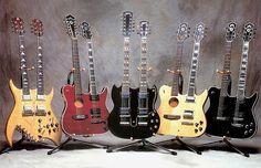 "Slash's Signatures | 1. B.C. Rich Doubleneck | 2. Guild Custom Crossroads | 3. Gibson EDS-1275 1967 4. Guild Custom Made ""Crossroads"" | 5. Guild Custom Made ""Crossroads"""
