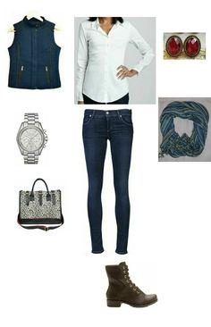 Colete azul, jeans, camisa branca, bota marrom, relogio prata e lenço.