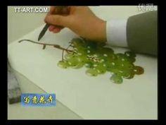 Grapes/1st fire チャイナペイントで描く葡萄2〜果実第1焼成 - YouTube