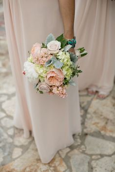 Peony Hydrangea and Dusty Miller Bouquet | photography by http://photographybyvanessa.com/