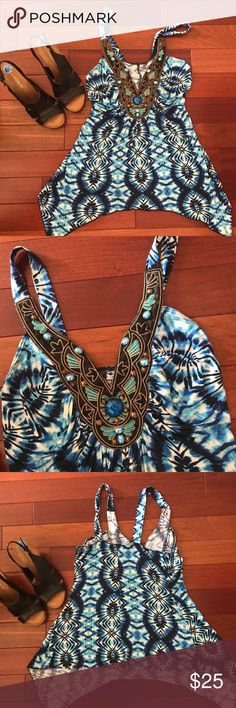 New Venus Top Beautiful pattern with beads adorning the front, shark bite hem, unlined. VENUS Tops Blouses