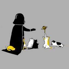 Darth Vader at home with his cats. And of course Darth Vader has cats - they are both evil.