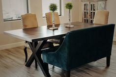 Classically modern, the Trestle Table was custom made with oak atop a railroad trestle base. Trestle Table, Dining Bench, Custom Tables, Conference Room, Wood, Modern, Furniture, Home Decor, Trendy Tree