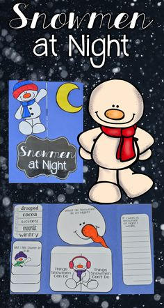 Snowmen at Night - Snowmen at Night Lapbook  What do you love about winter? Is it building snowmen? Your kids love to read and discover all about snowmen and the book Snowmen at Night creates new curiosity and engagement during the winter months. This Snowmen at Night lapbook activity is perfect for your winter, snow, or snowman unit. Be sure to use this book in addition to your reading or book study of Snowmen at Night.