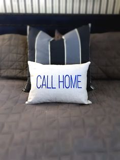 """Here's a fun gift idea for your college kids, the """"Call Home"""" pillow is a perfect present for under the tree to remind your college child to call home. Available in any color. #callhome #dormroom #collegekid #giftguide"""