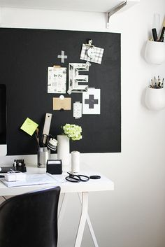 love the black and washi tape inspiration board ... may need to find a giant black chalkboard decal for my space! working by AMM blog