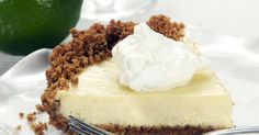 Tart and sweet key lime pie with a vanilla wafer crust.