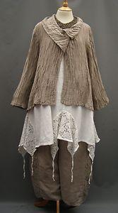 La Bass~ BISCUIT ~ Linen & Lace ~ Crop Oversized Trousers~ Sizes 1&2 &3   eBay