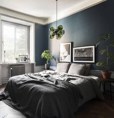 The dark furniture, on the dark floors, combined with the grey walls in the living room and the petrol blue paint in the bedroom make this place so cozy and characteristic. I especially like the blue bedroom, with the green … Continue reading → Natural Bedroom, Luxurious Bedrooms, Luxury Bedrooms, Master Bedrooms, Luxury Bedding, Master Suite, Home Decor Bedroom, Bedroom Ideas, Men Bedroom