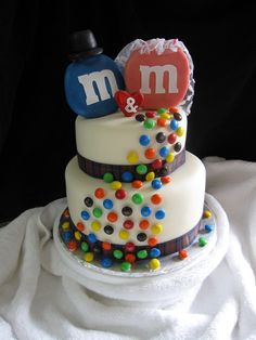 m&m wedding cake - The couple's name started with m's so they asked for a simple m&m cake.  It is chocolate cake with chocolate ganache.