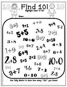 Some Math Freebies First Grade Bloomabilities: Some Math Freebies ~ highlight sums that equal 10 and Math Classroom, Kindergarten Math, Teaching Math, Teaching Spanish, Classroom Decor, Teaching Resources, Math Addition, Addition Facts, Math School