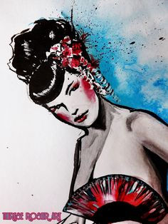Pin-Up Art  Bettie Page as Geisha  Watercolors | Ink | Acrylic