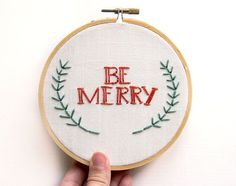 Christmas Decoration - Embroidery Wall Art - Be Merry Hoop Art - Holiday Decor - Red and green - Cute Festive Rustic - 5 Inch Hoop on Etsy, $25.00