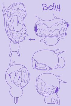 Maddie C. — Some concepts for two characters of mine: blink. Art Sketches, Art Drawings, Character Art, Character Design, Mouth Drawing, Monster Design, Creature Concept, Creature Design, Drawing Reference