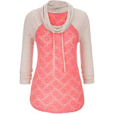 maurices Cowl Neck Lace Baseball Tee ($19) ❤ liked on Polyvore featuring tops, t-shirts, shirts, hoodies, sweaters, pink, 3/4 sleeve baseball shirt, lace up shirt, 3/4 sleeve baseball tee and 3/4 sleeve t shirt
