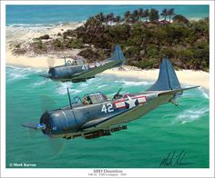 SBD Douglas Dauntless. 1935-1942. Two-seat, carrier and land based, dive bomber and scout. Power plant: PW R-1830 Twin Wasp radial. Max Speed: 250 mph. Armament: 2 x .50 cal & 2 x .30 cal. Up to 1,600 lbs munitions. Replaced by the SB2C Helldiver.