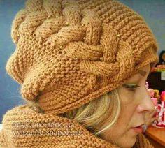 шапка с косой спицами