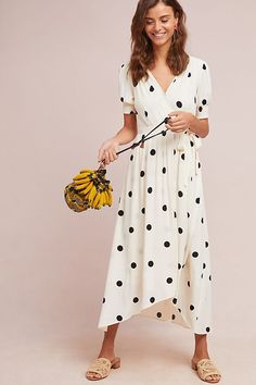 Anthropologie Breanna Polka Dot Wrap Midi Dress By Maeve. A polka dot dress is decidedly feminine - style with flats or sandals and paint a red lip for a refreshing splash of color. Women's Dresses, Stylish Dresses, Summer Dresses, Wrap Dresses, Summer Outfit, Dot Dress, Dress Skirt, Dress Up, Mode Outfits