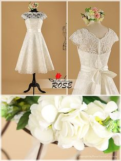 Knee Length Strapless Lace Wedding Dresses and by RoseHauteCouture