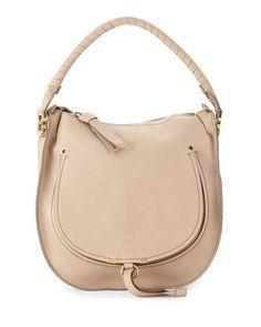 Marcie Leather Hobo Bag, Nude Beige by Chloe at Neiman Marcus.