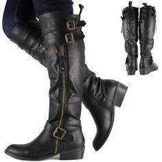 New Womens Ladies Black Knee High Leather Style Flat Low Heel Biker Riding Boots | eBay