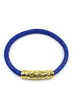 Men's Blue Stingray Bracelet with Gold Lock 18k Gold, Beaded Bracelets, Sterling Silver, Leather, Blue, Jewelry, Jewlery, Jewerly, Pearl Bracelets