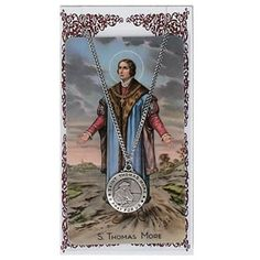 """Catholic Saints Necklace for Men or Women, Pewter Silver St. Thomas More Medal  24"""" Chain, Prayer Card Set. Patron Saint of Adopted Children, Civil Servants, Court Clerks, Large Families, Lawyers, Politicians, Widowers  Step-parents >>> Check out this great product."""