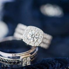 Triple band diamond engagement ring with square halo and groom's wedding band with 4 square diamonds | Leslie Ann Photography | villasiena.cc