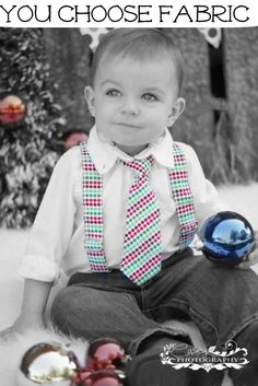 Christmas Tie-Baby Boy Suspenders Set- You Choose Fabric- Toddler Suspender and Tie- Wedding - Holiday - Family Picture - Photography Prop. $30.00, via Etsy.