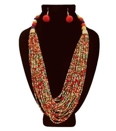 Multi Colored Seed Bead Multi Strand Necklace Set