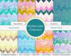 WATERCOLOR CHEVRON Digital Paper Pack Commercial by ClipArtBrat