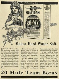 This 1916 print advertisement for 20 Mule Team Borax focused on its ability to soften hard water, something Borax is still known for.