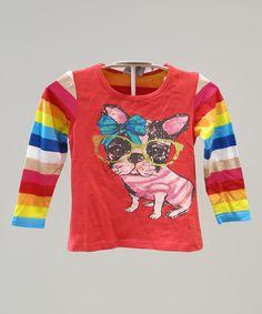 Orange & Blue Stripe Sunglasses Dog Tee - Infant, Toddler & Girls by Skootz Kidzwear #zulily #zulilyfinds