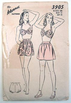 Vintage 40s Pinup Halter Two Piece Swimsuit or Beach Set Advance Sewing Pattern 3905 Size 14