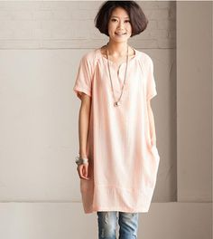 Pink Lovely dot Dress - Loose Cotton Shirt  Women Blouse Cotton Dress Linen Women Blouse -Women clothing on Etsy, $55.00