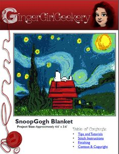 SnoopyGogh Throw Graph and Crochet Stitch by GingerGirlGeekery